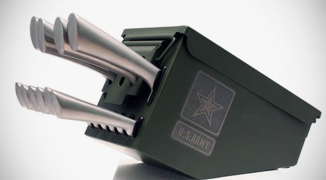 Ammo Box Knife Block Cutlery Set: Now, That's A Military Cut !