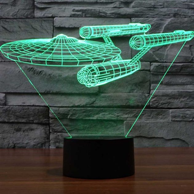 star trek enterprise 3d deco lamp puts realistic hologram in your home mikeshouts. Black Bedroom Furniture Sets. Home Design Ideas