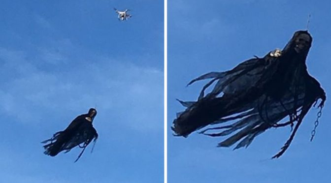 A Drone With An Angel Of Death In Tow Is Some Scary But Awesome Shit