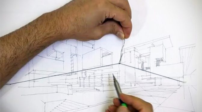 two point perspective with guidelines
