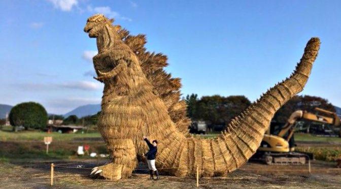 Rice Straws Godzilla Sculpture