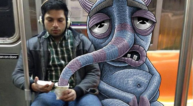 Doodle Artist Imagines Monsters Among Everyday NYC Subway Riders