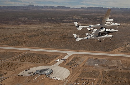 First flight of whiteknight2 and spaceship2 to America's first spaceport,  Spaceport America 544px