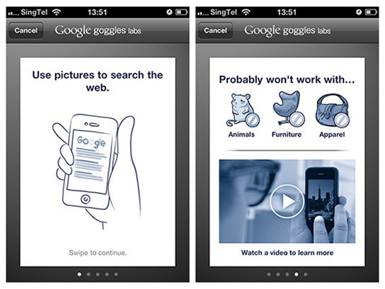 Google Goggles on iPhone - tutorial screenshots 544px
