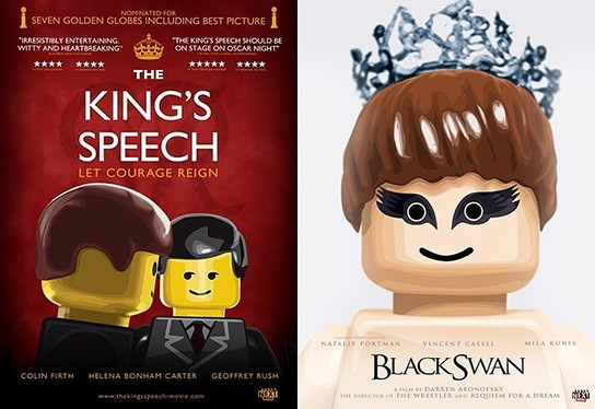 Oscar Best Picture Nominees Movie Posters LEGO-style 544x374px