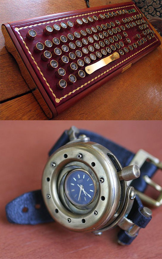 Steampunk Keyboard and Wristwatch 544x868px