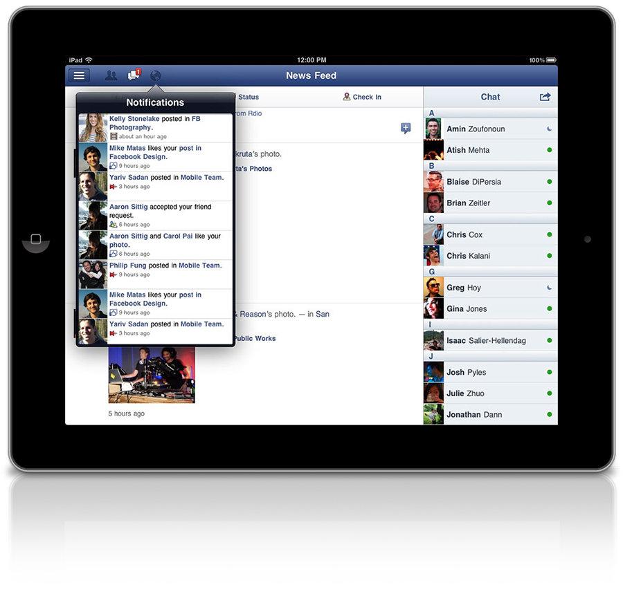 Facebook iPad App 900x888px