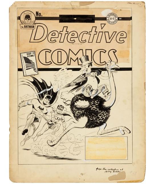 Jerry Robinson Detective Comics #67 First Penguin Cover Original Art (DC, 1942) 544x648px