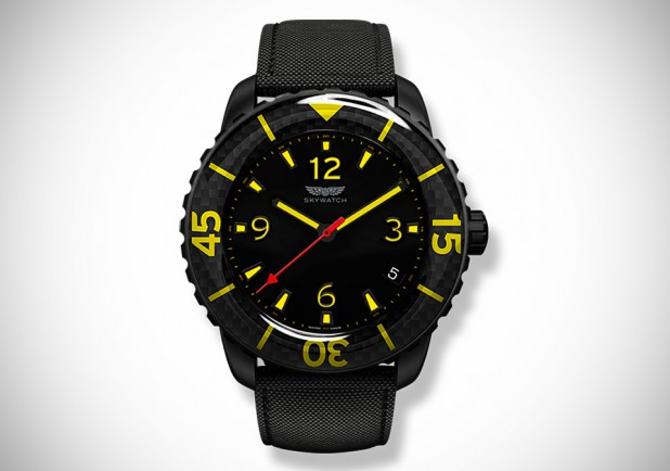SKYWATCH Black IP Series 3-Hand Carbon Fiber & Yellow