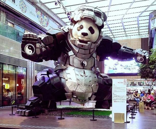 Iron Panda - Panda in Armor Sculpture by Bi Heng
