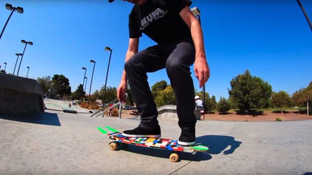 Braille Skateboarding Rides A LEGO Skateboard