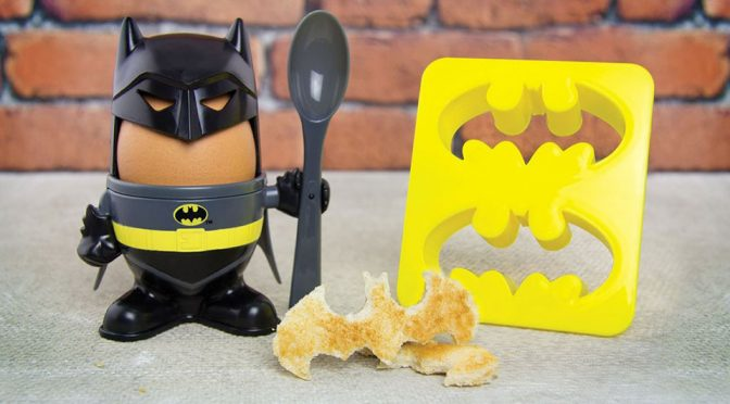 <em>Batman</em> Egg Cup Makes An Egg Looks Like Humpty Dumpty in <em>Batman</em> Costume