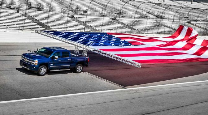 2017 Silverado HD World's Largest Flag Pulled