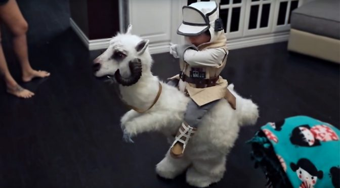 Dad Made Junior An Adorable <em>Star Wars</em> Luke-on-Tauntaun Costume
