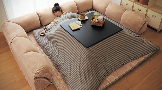 Square Kotatsu Gino Table and Blanket Hybrid