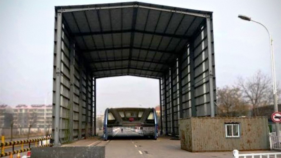 Qinhuangdao City's Transit Elevated Bus Fails