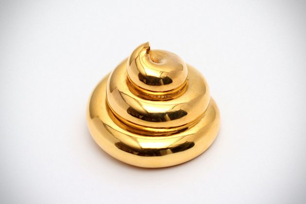 3D Printed 18K Plated Gold Archimedean Turd