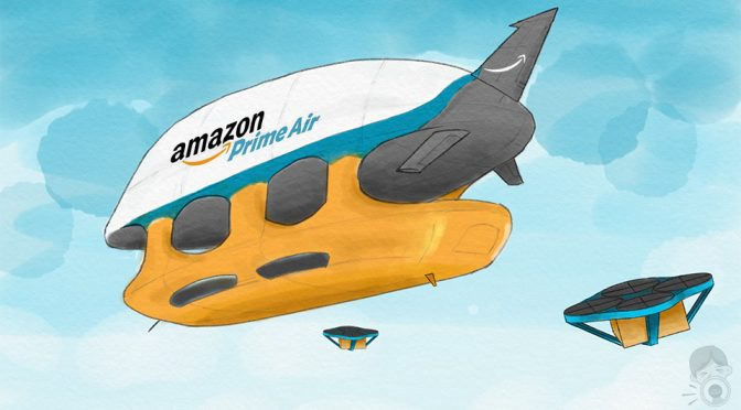 Amazon Secures Patent For Airborne Fulfillment Center - Artist Impression by Mikeshouts