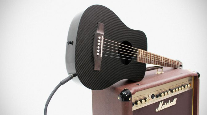 KLOS Super Durable Carbon Fiber Travel Guitar Gets Electrified!