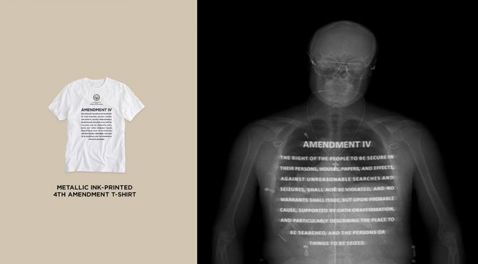 Metallic Ink Printed Garments Remind TSA X-Ray Operator Of Your Rights