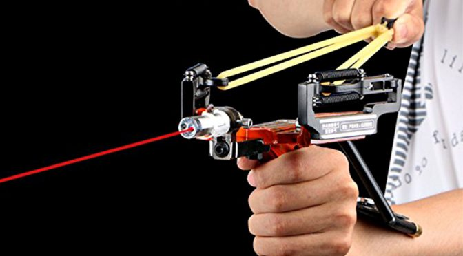 Slingshot With Laser Aiming Is Cool, But Try Not To Knock The Laser Out