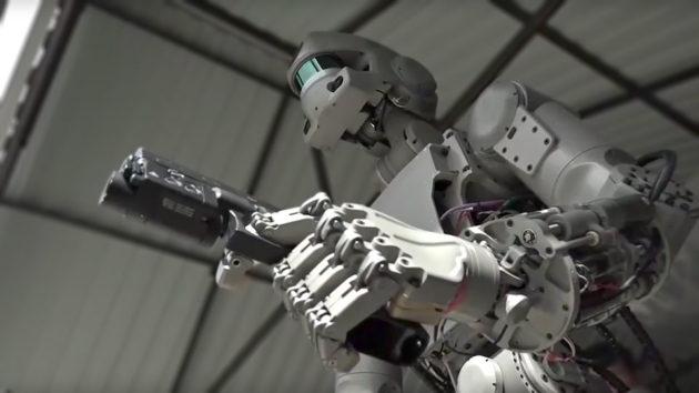 Gun Shooting FEDOR Russian Anthropomorphous Robot