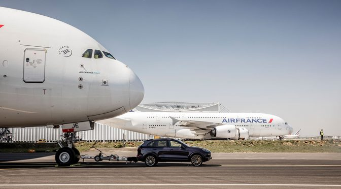 Porsche Cayenne S Diesel Set New Record Towing A 285-Ton A380 Jetliner