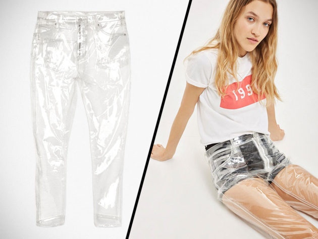 Topshop Moto Clear Plastic Straight Leg Jeans