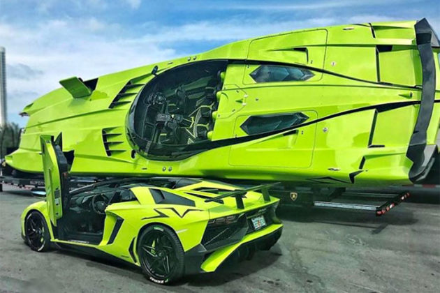 Customized Lamborghini Aventador SV Roadster with Speedboat