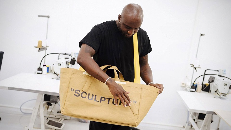 ikea teamed up with off white on a fresh take of the iconic frakta bag mikeshouts. Black Bedroom Furniture Sets. Home Design Ideas