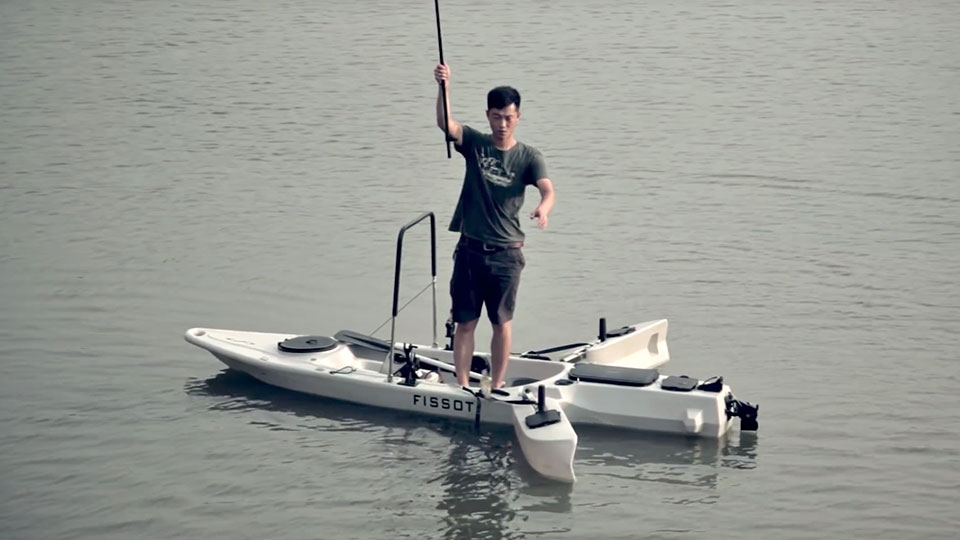 this powered kayak has retractable stabilizer so you can