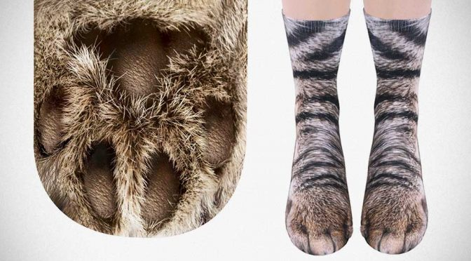 Sublimated Paw Crew Socks Furry Animal Print Socks