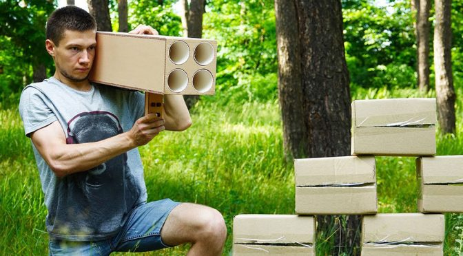 Functional 4 Barreled Rocket Launcher Made of Cardboard