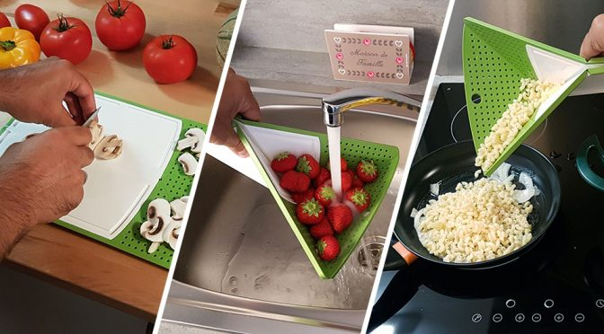 Origami Cutting Board Turns into A Colander And Strainer In A Second