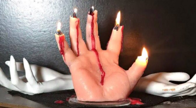 Bleeding Hand Candles Might Just Be The Creepiest Halloween Decor Ever