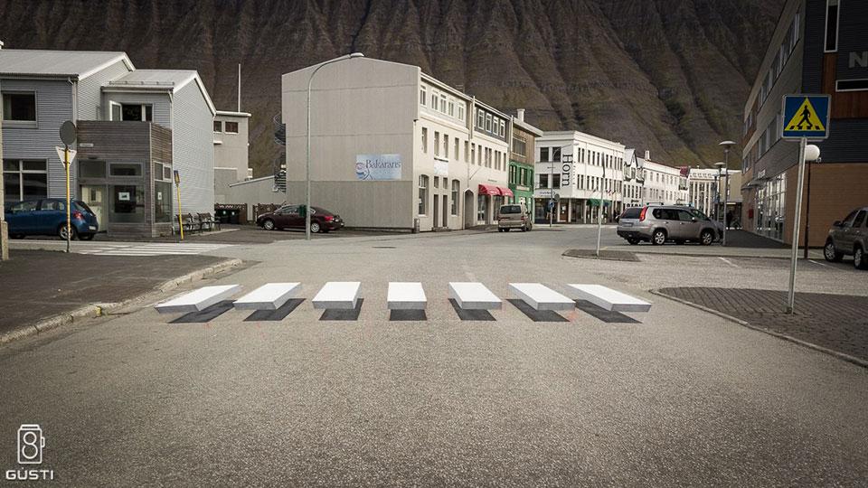 3D Zebra Stripe Crosswalk In Ísafjörður Iceland
