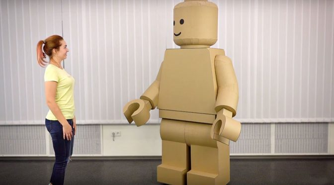 DIY Cardboard Giant LEGO Man Costume The Q