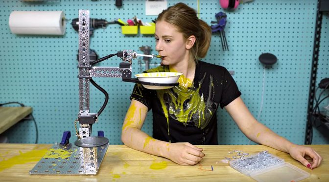 Homemade Robot That Serves Soup by Simone Giertz