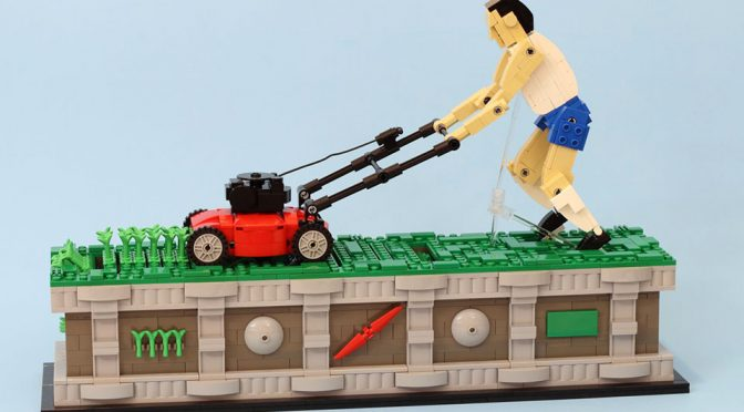 LEGO Lawnmower Man Kinetic Sculpture by JK Brickworks