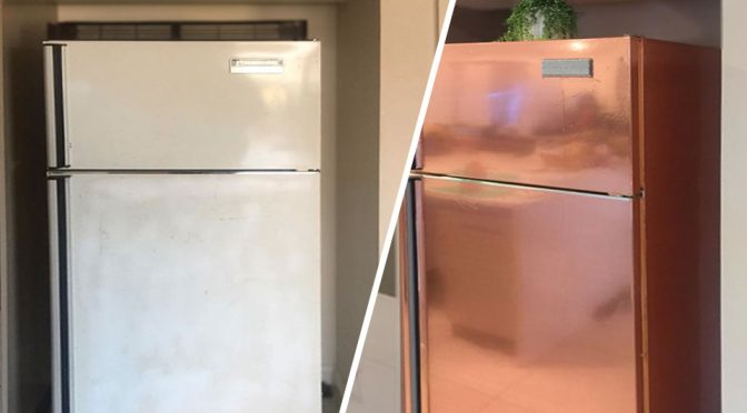 Cheap DIY Hack Gives A Garage Sale Fridge A New Stunning Look