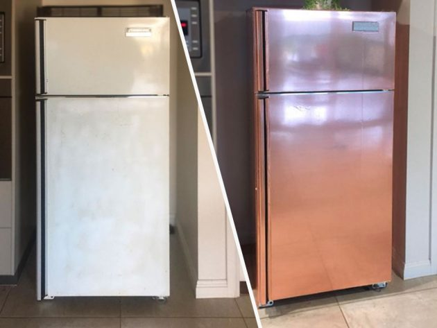 DIY Refrigerator Wrap Turns It Into A Rose Gold Appliance