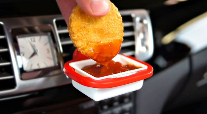 DipClip In-car Holder for Ketchup & Dipping Sauces