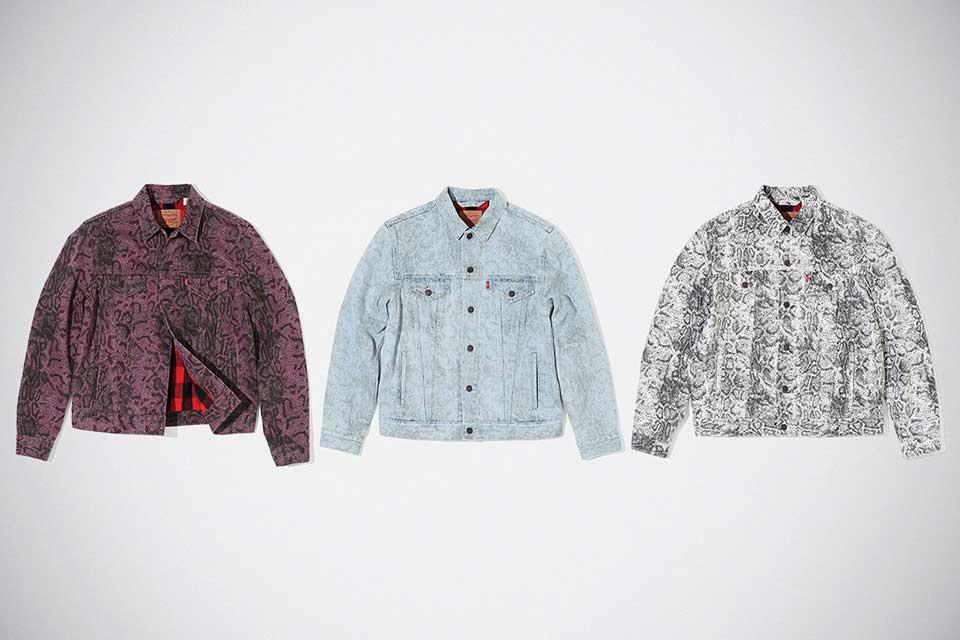 Supreme x Levi's Snakeskin Overalls & Trucker Jacket