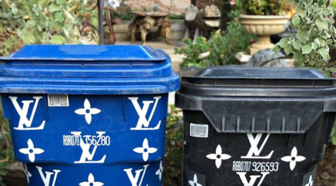 Kim Kardashian Shows Off Louis Vuitton Trash Cans