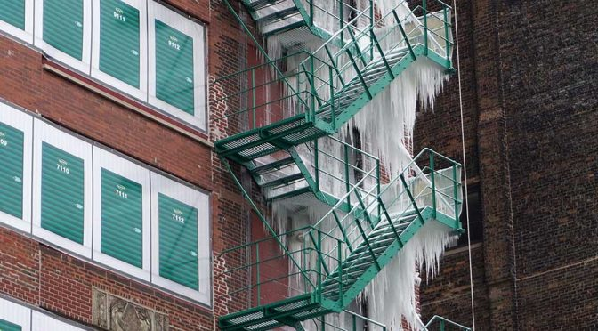Epic Icicle Formation On Fire Escape Is Freakish, But A Sight To Behold