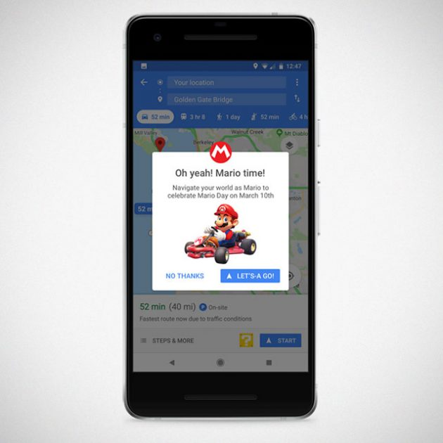 Google Puts Mario on Google Maps For A Week for Mario Day