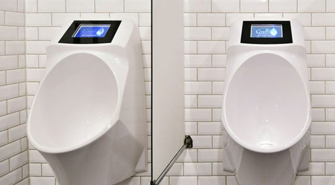 Waterless Urinal with Built-in Video Screen