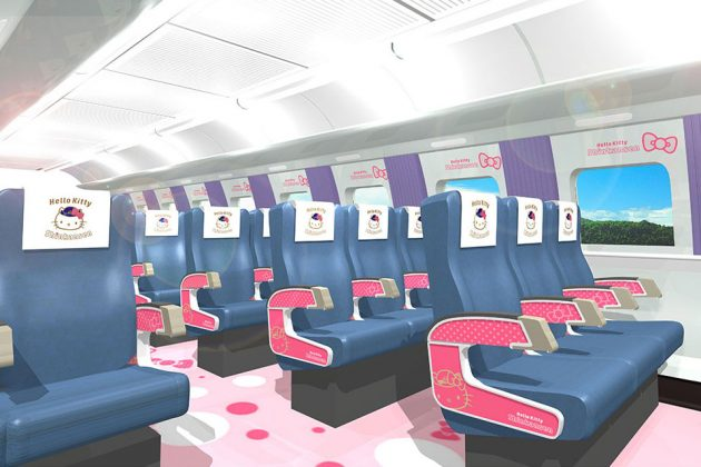 JR West Hello Kitty-themed Shinkansen Interior