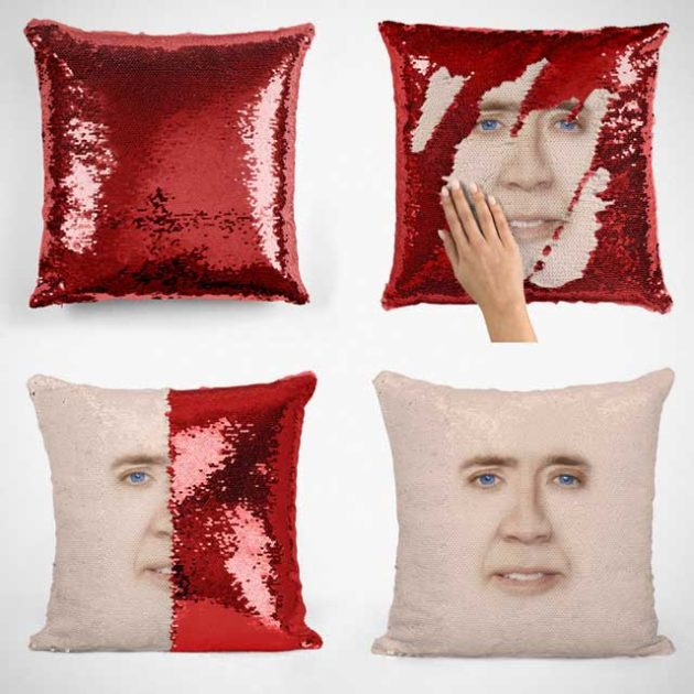 Nicolas Cage Face Sequin Pillow from Memeskins