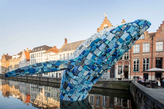 Whale Sculpture Made of Plastic Waste by StudioKCA